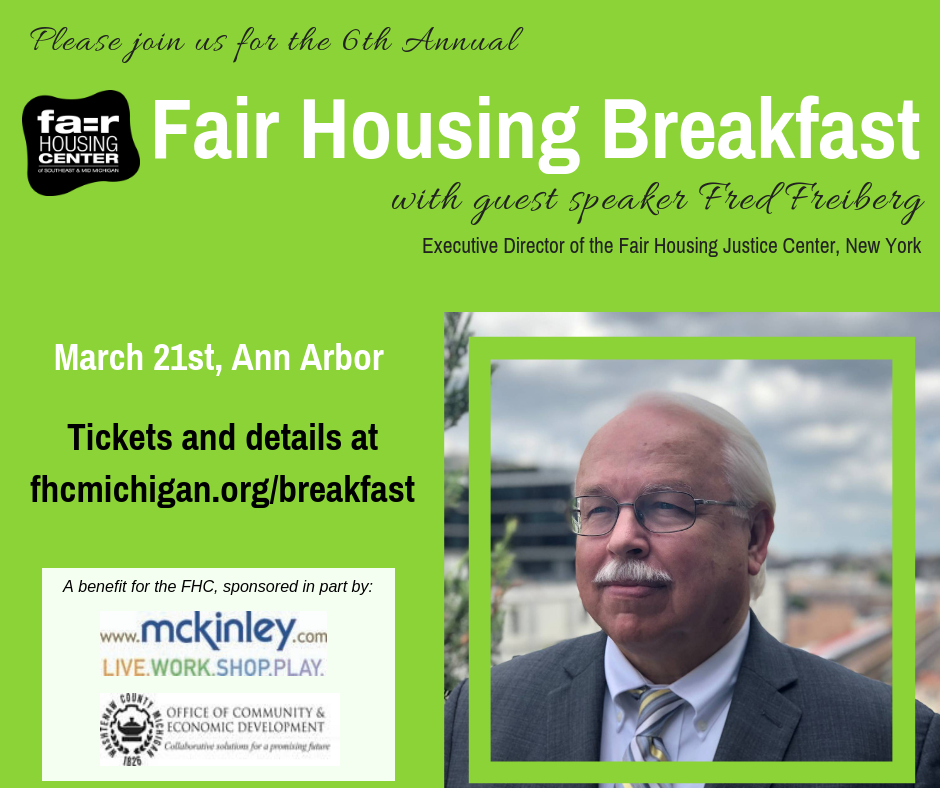Fair Housing Breakfast fundraiser in Ann Arbor, March 21st. Tickets available now.